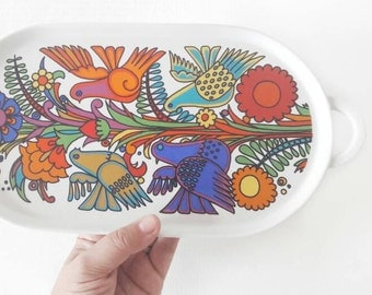 Vintage Acapulco Design Ceramic Oval Serving Platter Dish with Handles by Villeroy and Boch