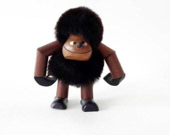Mid Century Modern Teak Danish Design Hanging Monkey Gorilla Figurine
