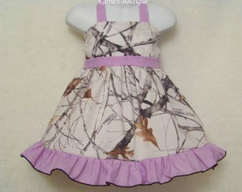 CAMO Halter Dress / Snow Camo + Lavender / Flower Girl / Wedding/ Bridesmaid/ Pageant/ Halter/ Infant/ Baby/ Girl/ Toddler/Boutique Clothing