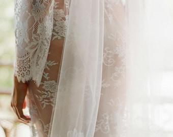 Dreamy Single Layer Italian Tulle Luminous Veil ivory