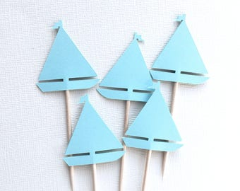 24 Sailboat Cupcake Toppers, Light Blue, Nautical Party Decor, Baby Showers, Birthdays, Double-Sided, Travel Theme