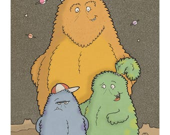 Family of Fluffy Aliens - Illustration Art Print