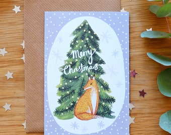 Illustrated Fox and Christmas Tree Card