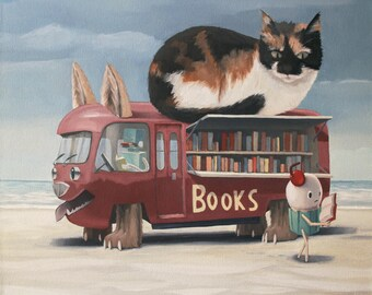 Bookmobile, Signed Print of an Original Surreal Oil Painting