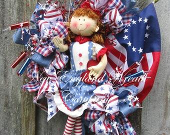 Patriotic Wreath, Flag Wreath, Betsy Ross Flag, 4th of July Wreath, Whimsical Patriotic Wreath, Americana Wreath, Patriotic Doll Wreath