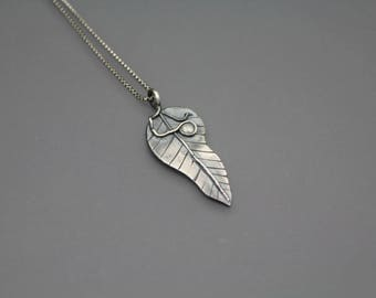 Leaf Necklace, Leaf Pendant, Silver Leaf, Leaf Jewelry, Feather Jewelry, Nature Jewelry, Tree Jewelry, Silver Leaf Necklace, Carved