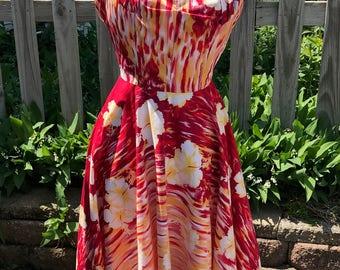 1950's Kamehameha Flower Print Halter Dress