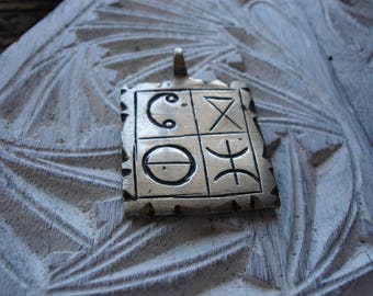 Moroccan double sided silver colour hand engraved square pendant with alphabet and tiny triangles