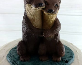 READY TO SHIP Realistic Otters Wedding Cake Topper