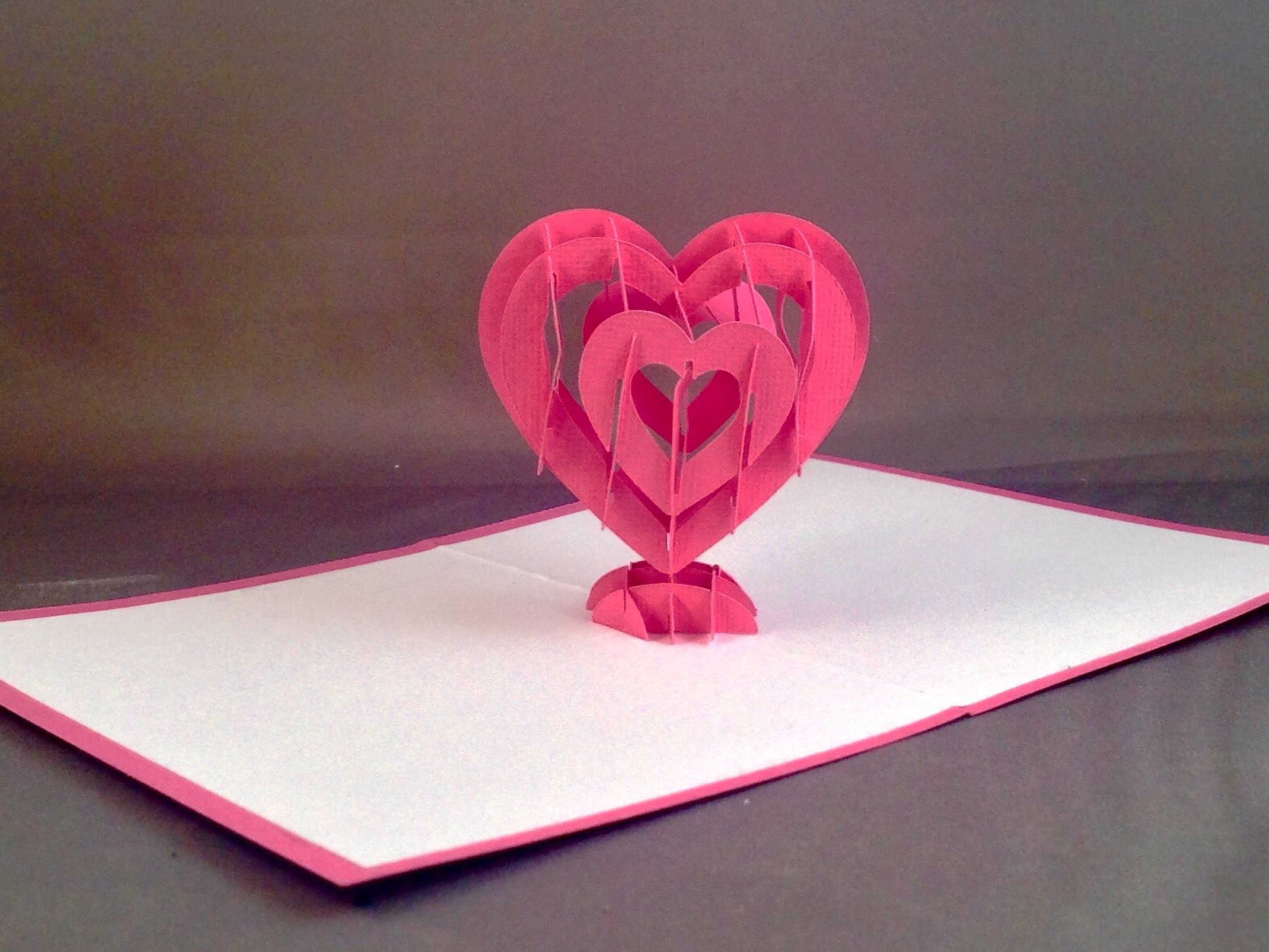 Cute Pop Up Valentines Day Card with 3D Heart Valentine Love – Pop Up Valentines Day Card