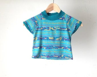VINTAGE boys SKATER striped SURF blue and green t shirt