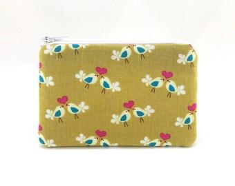 Lovebirds Coin Purse, Mustard Zipper Pouch, Card Pouch, Zipper Wallet, Padded Pouch, Gift ideas, Gift for her