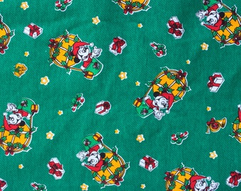 1980's Mickey Mouse Christmas Holiday Fabric in Green Flannel Corduroy 80s 1990s 90s Warm Material Children's Disney Santa
