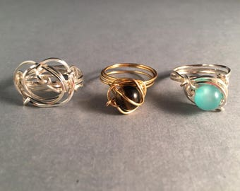 BOGO Gold Ring with Tiger Eye, Silver & Turquoise Ring, Silver Ring, Wire Wrapped Rings Size 8.5 One of a Kind Previously 45 Dollars ON SALE