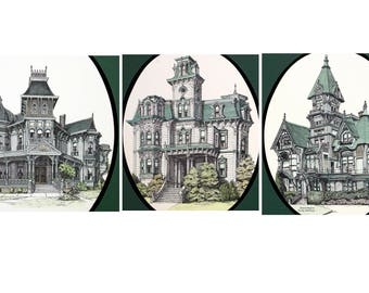Debbie Patrick lithographs, set of 3, victorian, Morey Mansion, Govenors, Carson, Redlands, Eureka, painted lady, hand signed, 16x20