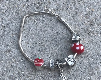 Pandora Style Silver and Red Bracelet Teacher Charm Bracelet Owl Apple ABC 123 Charms