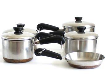 Revere Ware Cookware Set: 3 qt Saucepan, 2 Qt, Skillet, etc Copper Clad & Thick Bottom