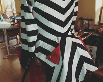 Alice's Night Circus Stage Costume - Ringmasters Tailcoat Striped Bustle Jacket Steampunk Victorian