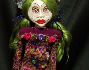 art doll, green hair
