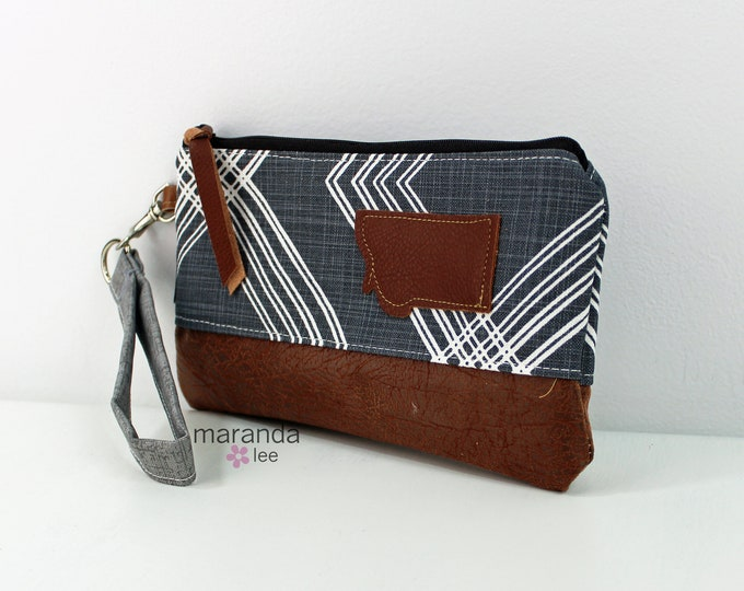Flat Clutch - Colton Blue with Montana Patch and PU Leather READY to SHIp