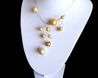 Yellow Necklace, Miracle Bead Necklace, Swirls Necklace, Statement Necklace, Illusion Necklace