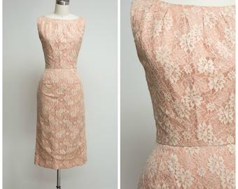 Vintage 1950s Dress • Isabelle Nods • Nude Lace 50s Sheath Cocktail Dress Size Small