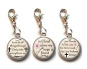3, Clip On Charms, Christian, Religious, Dangle Charm, Lobster Clasp, Bible Verse, Scripture, Inspirational Saying, Antique Silver, No.2