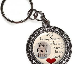 God Has My Sister In His Arms, Personalized, Photo, Key Chain Or Purse Charm, In Memory Of, Memorial, Remembrance, Key Ring, Zipper Pull