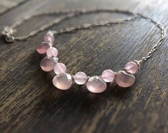 Pink Necklace - Rose Quartz Jewellery - Sterling Silver Jewelry - Gemstone Pendant - Chain