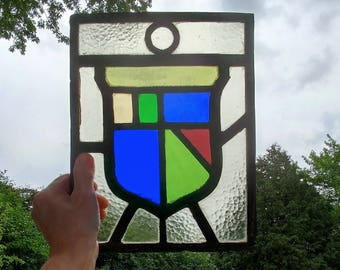 "Stained glass window, heraldic crest, architectural salvage Antique stained glass, vintage stained glass, leaded window 11"" x 8.5"""