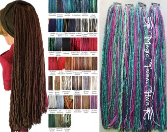DREADLOCKS for SHORT HAIR Many colors! Gypsy Tribal Fusion clip-in dreads Renfaire dread falls Boho dreads extensions Belly Dance hair piece
