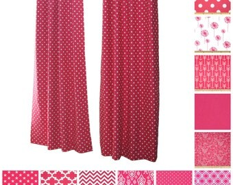 Custom Drapes- Pair of Drapery Panels- Candy Pink Curtains- Hot Pink Room Decor- Window Treatments- Pink Curtain Panels- Polka Dot Curtains