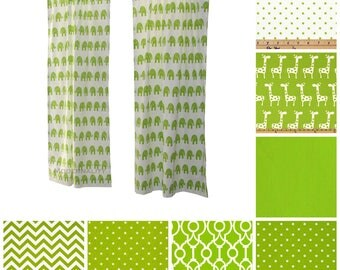 Contemporary Curtains- Pair of Drapery Panels- Chartreuse Green Curtains- Custom Lime Green Drapes- Green Cafe Curtains- Bedroom Curtains