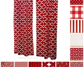 Custom Drapes- Pair of Drapery Panels- Lipstick Red Curtains- Bold Curtains- Window Curtains- Choose Your Size + Lining- Red Curtain Panels