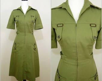 VINTAGE 1970s Funky Retro Khaki Green Urban Safari Dagger Collar Dress UK 8 F 36 Indie/ Industrial /