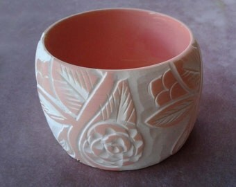 Carved Bangle Lucite Peach Color White Flower Design Super Wide