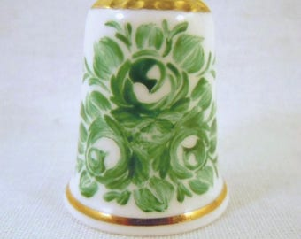 HAND PAINTED Bone China Thimble with Roses and Daises
