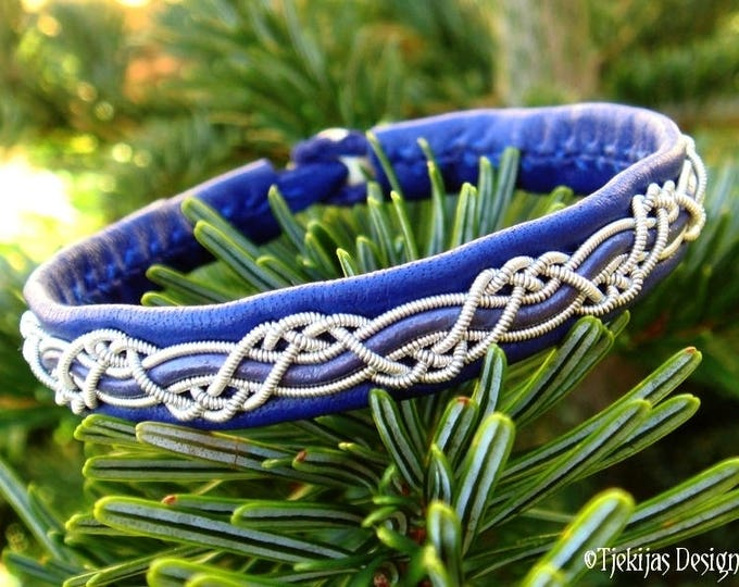 Nordic Blue Leather Viking Bracelet | HUGINN Unisex Handmade Sami Bracelet in Your Size and 30 Colors to choose from.