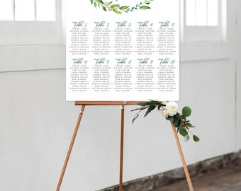 Seating Chart on Foam Core - Greenery, Foliage, Leafy (Style 0013)