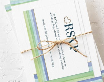 Wedding Invitation Suite, Semi Custom - Sandy Shores (Style 13625)