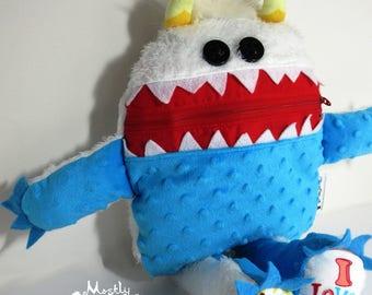 Mini Cuddle Monster pillow, 2-tone Yeti monster, Yeti Plush Monster, pajama eater pillow, bedtime buddy, little monster, nightmare eater