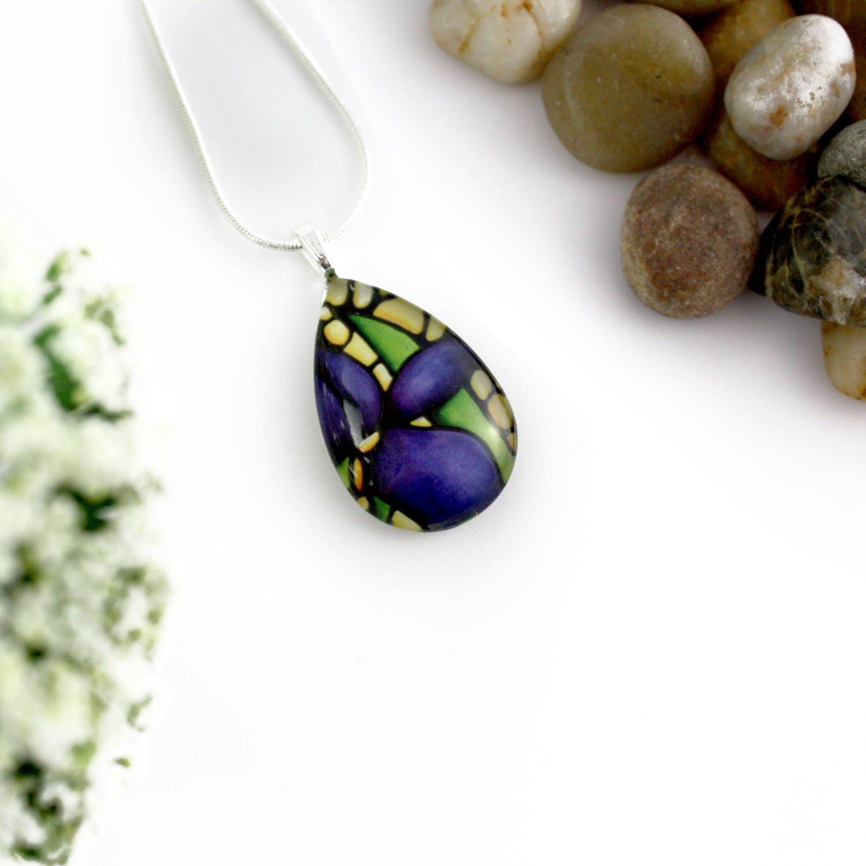 Iris Necklace Purple Flower Necklace Handmade Glass Pendant