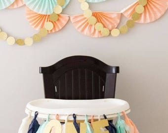 High Chair Banner One High Chair Bunting First Birthday 1st Birthday Banner 1st Birthday Banner Birthday Party  One Year Old Birthday Banner