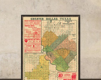 Vintage map - Antique map of Dallas - Old map of Dallas-  Archival print