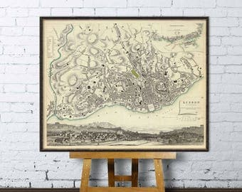 Map of Lisbon - Old map archival  reproduction - Lisboa mapa