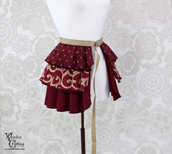 "Steampunk Ruffle Bustle Overskirt - Burgundy & Ivory - 3 Layer, Sz. M - Fits up to 55"" Waist/Upper Hip -- Ready to Ship"