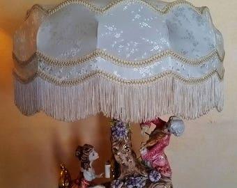 Vintage Capo di Monte 37'' Victorian Italian Porcelain Figurine Table Lamp Musicians w/ Shade