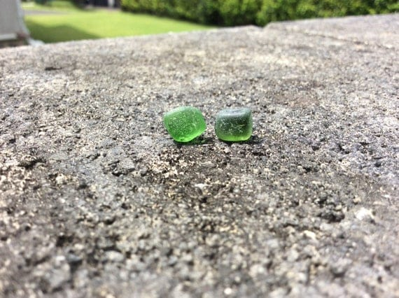 Surf Tumbled Olive Green Seaglass Stud Earrings