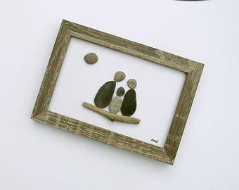 "Pebble Art: Family of 3 - 5"" x 7"" Rustic Frame -- modern art, minimalist art, original wall art, small space wall art, family gift"