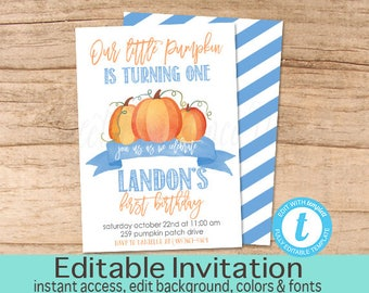 Our Little Pumpkin Invite, Pumpkin Birthday Invitation, Fall Birthday, Boy First Birthday, Editable birthday template, Instant Download